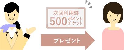 ご新規に入会されたお客様には、次回利用時に500ポイントをプレゼントするクーポンをお渡しします。